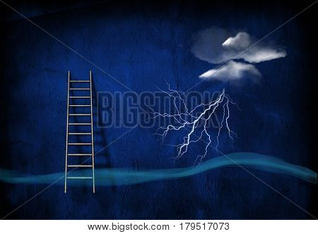 Surrealism. Lightning from cloud, ladder.  3D Rendering
