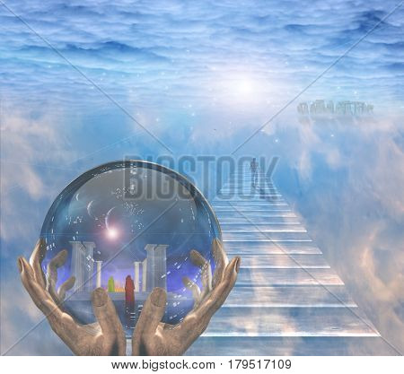 Crystal ball with temple and monk inside. Figure of man walks to the light.  3D Rendering
