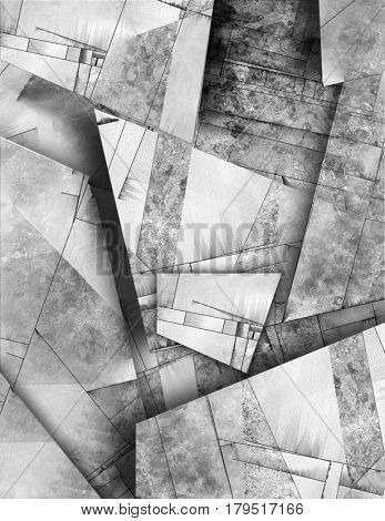 Abstract painting. Surfaces in black and white.