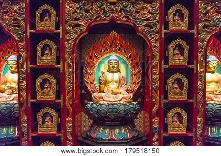 Buddha Statue At Buddha Tooth Relic Museum In Singapore
