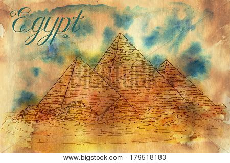 Hand drawn illustration of Giza pyramids with lettering styled as old papyrus card  on grunge textured background