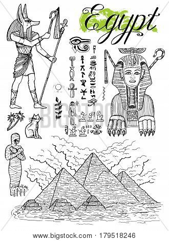 Hand drawn collection with Giza pyramids, Sphinx, Anubis and traditional Egyptian symbols isolated on white, vector illustrations, doodle drawings