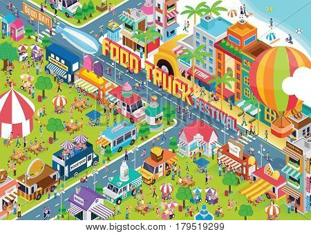 food truck festival graphic animated images in town