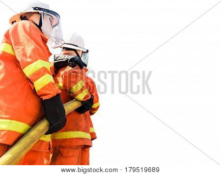 firefighters spraying water fire fighting operation on white background