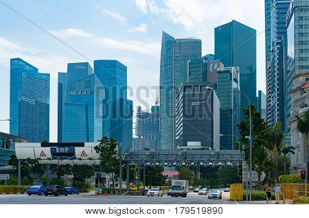 Singapore Central Business District Skyline At Sunny Day