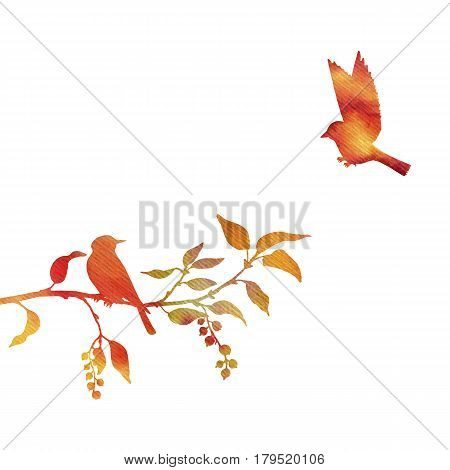 watercolor silhouettes of birds at tree, hand drawn songbirds at branch