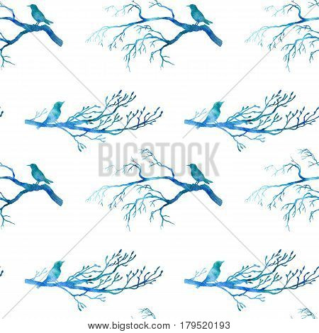 seamless pattern with blue watercolor silhouettes of birds at tree, hand drawn bckground with songbirds at branch