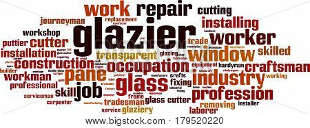 Glazier word cloud concept. Vector illustration on white