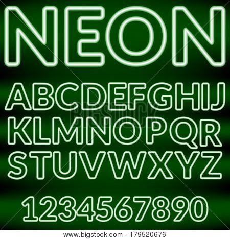 Green neon light alphabet on a black background.Vector