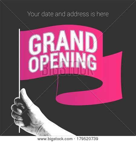 Grand opening vector illustration banner with red flag. Template design element for opening ceremony can be used as invitation card