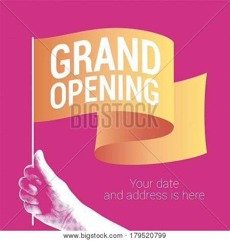 Grand opening vector illustration banner for new store etc. Template design element for opening ceremony