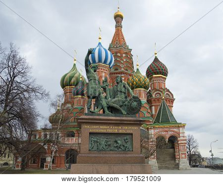 Monument to Minin and Pozharsky on the background of St. Basil's Cathedral. Moscow
