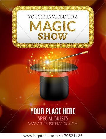 Magic Show poster design template. Magic show flyer design with magic hat and retro light sign.
