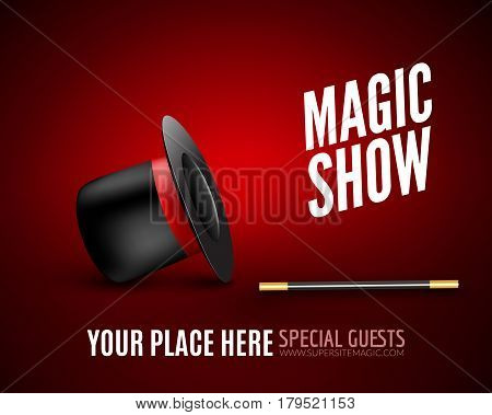 Magic Show poster design template. Magic show flyer design with magic hat and magic wand.