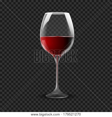 Wineglass isolated on transparent. Re wine glass on dark.