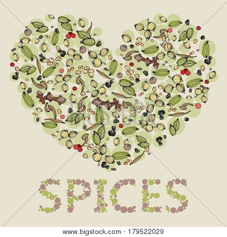 Isolated heart from spices. Hand-drawn set of spice in heart shape. Food background. spices background. I love Spices. Hand-drawn spices heart. Colored illustration of spice heart.