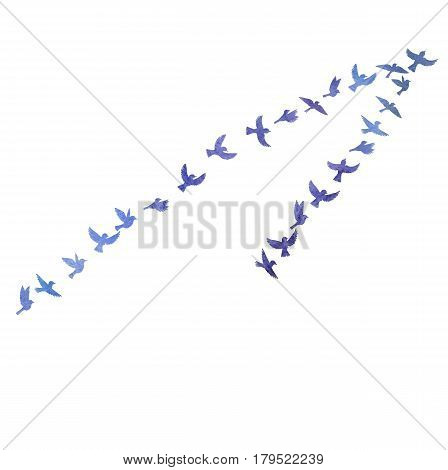 Bird flock, watercolor flying birds silhouettes, hand drawn songbirds