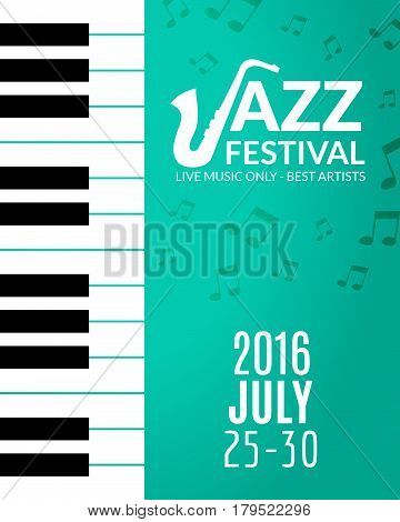 Jazz festival poster with a saxophone. Musical flyer design template.