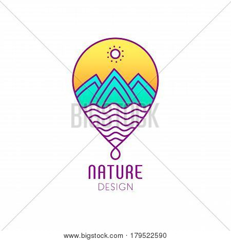 Vector logo in the form of droplets on white background. Linear icon of landscape - mountains, river. Business emblems, badge for a travel, ecology and climate concepts, spa, health and yoga Center.