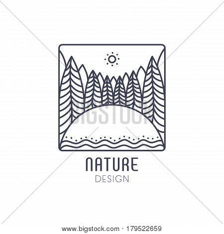 Vector logo of nature on white background. Linear square icon of landscape with trees, field and sun. Business emblem, badge for a travel, farming and ecology concepts, health and yoga Center.