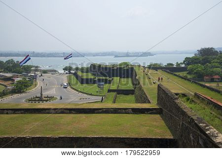 GALLE, SRI LANKA - MARCH 22, 2015: The old bastions of the fortress Galle. Sri Lanka