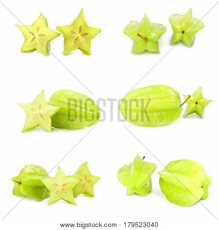 Collage of starfruit   isolated on a white background cutout
