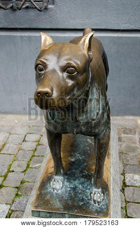 Bronze Dog Statue At Schaffhausen City. Switzerland