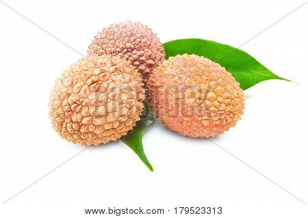 Lychee on a white background. Clipping path