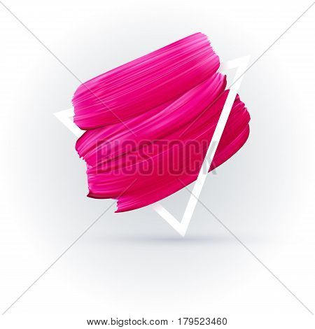 Pink lipstick mark in frame isolated on white background. Vector abstract pink paint brush art promo banner for shop in social media.