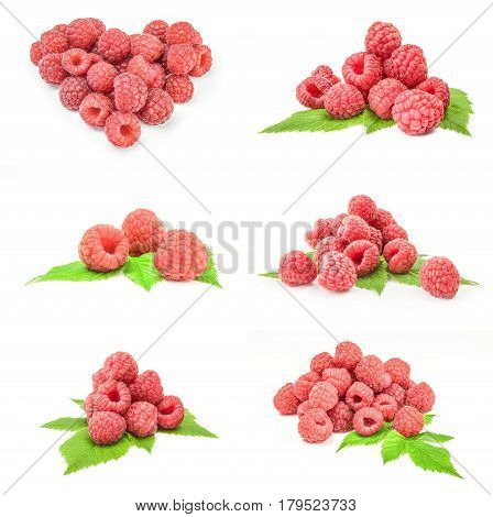 Group of ripe raspberries isolated on a white background with clipping path