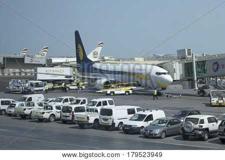 ABU DHABI, UAE - MARCH 27, 2015: Boeing 737 Next Gen (VT-JBK) airline Jet Airways to Abu Dhabi Airport