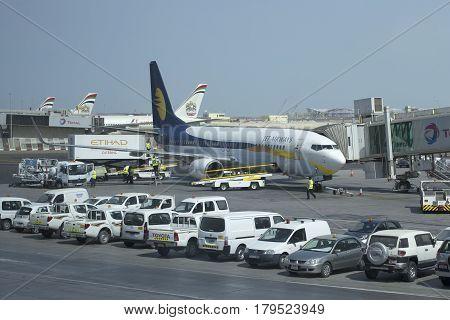 ABU DHABI, UAE - MARCH 27, 2015: Boeing 737 Next Gen (VT-JBK) airline Jet Airways to Abu Dhabi Airport