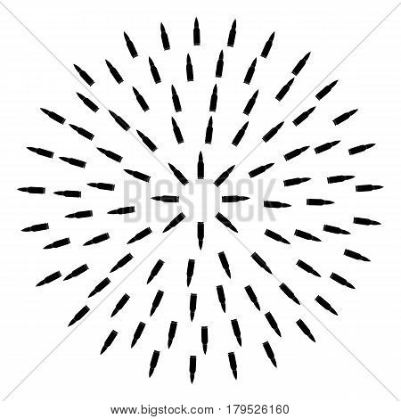bullet circle. abstract ammunition. ammo machine gun. white background. vector illustration.