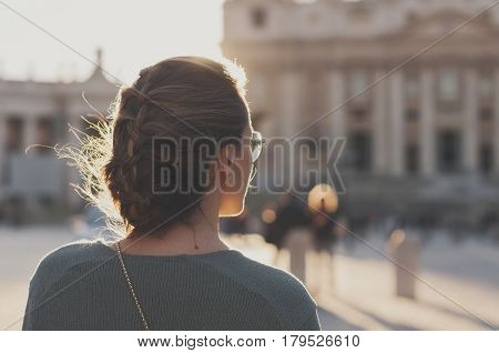 Portrait Of Young Woman On Piazza San Pietro In Vatican City State
