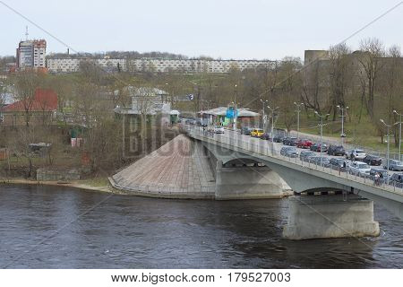 IVANGOROD, RUSSIA - MAY 01, 2015: View of the border crossing points and the bridge over the Narva River. Ivangorod