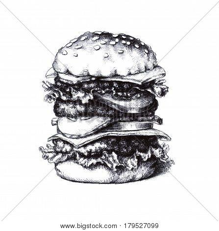 Hamburger. A hand drawn sketch on white