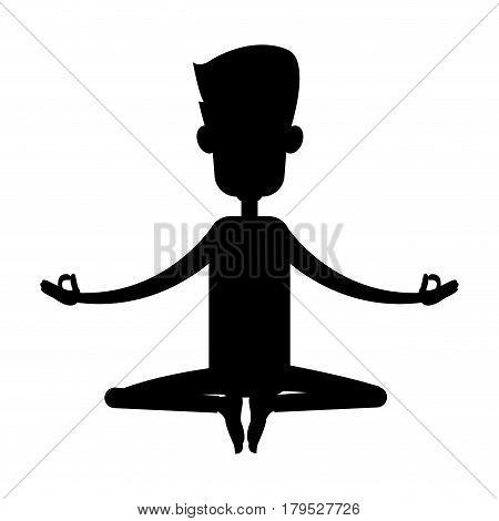 man yogi person meditating icon image vector illustration design  black silhouette