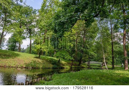 Green summer forest on the Berg lake with delicate white bridge