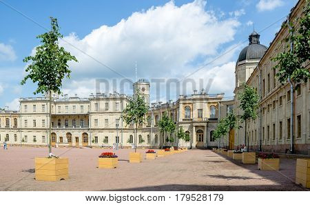 Gatchina, Russia - June 25, 2016: a fragment of the facade of the Gatchina Palace from the square