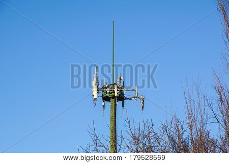 Antenna tower, antenna tower building with the blue sky
