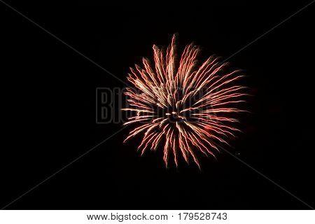 Beautiful firework over black background (dark sky)