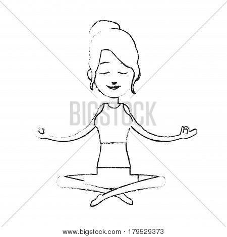 woman yogi person meditating icon image vector illustration design  black sketch line