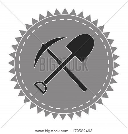 logo icon digger, pick and shovel, seekers of treasure, vector