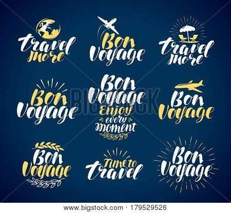 Travel, label set. Journey, vacation icons or symbols. Lettering vector illustration