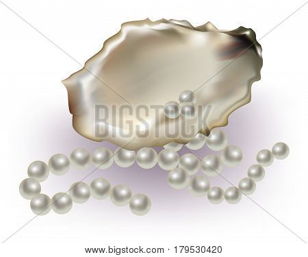 Pearls with beautiful necklace on white background