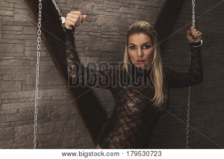 Sexy Girl Foreplay At Wall With Handcuffs And Whip
