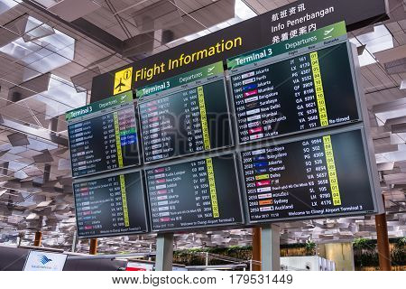 Departure Board In Changi International Airport, Singapore Changi International Airport
