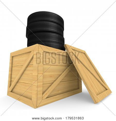 disk wheels in box on white background. Isolated 3D illustration