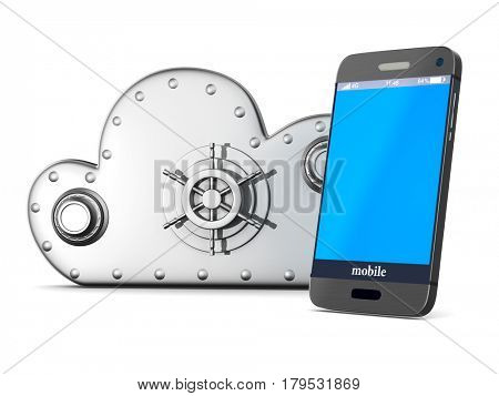 Cloud technology on white background. Isolated 3D illustration