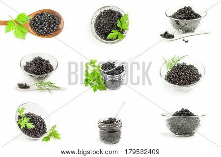 Set of beluga roe isolated on a white background with clipping path